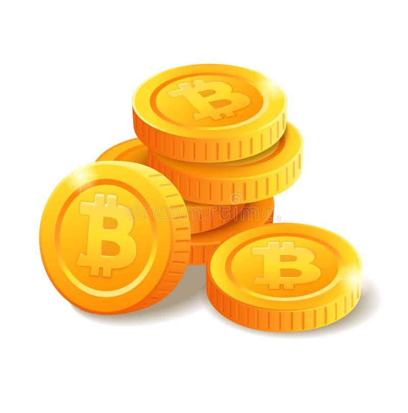 Hög av mynt med det Bitcoin symbolet vektor illustrationer