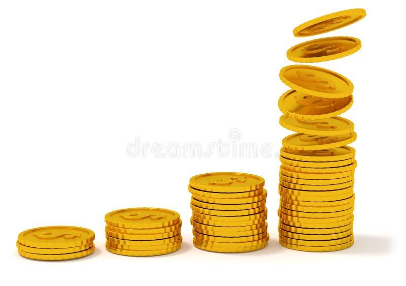 Hög av mynttrappa Fallande guld- mynt som isoleras på vit 3d framför vektor illustrationer
