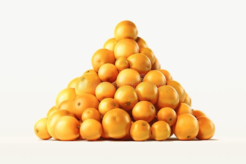 Hög av nya apelsiner på ljus bakgrund framf?rande 3d arkivbilder