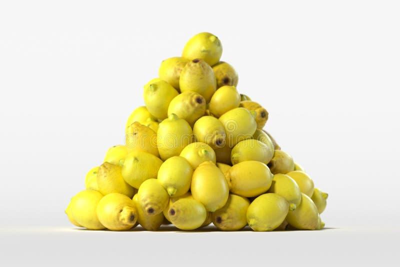 Hög av nya citroner på ljus bakgrund framf?rande 3d royaltyfri bild