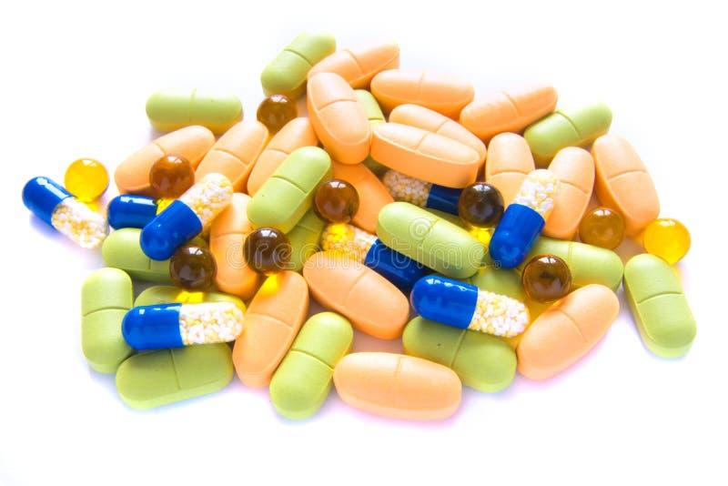 Hög av pills royaltyfria foton