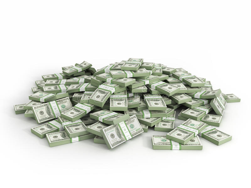 Hög av packar av dollarräkningar vektor illustrationer