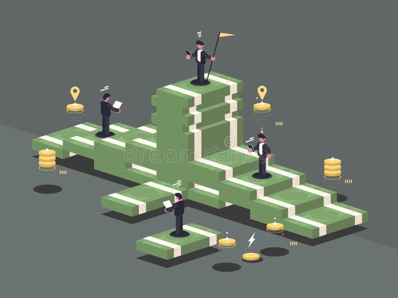 Hög av pengar stock illustrationer