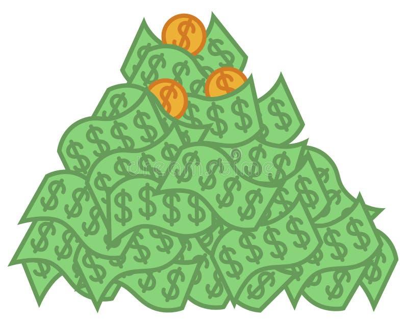 Hög av pengar royaltyfri illustrationer
