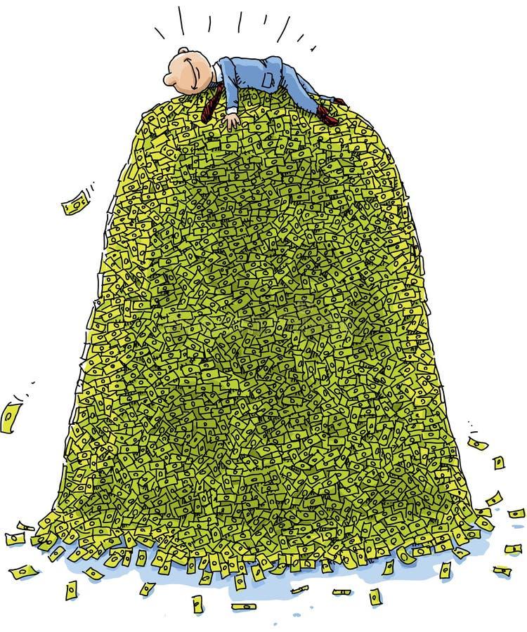 Hög av pengar vektor illustrationer