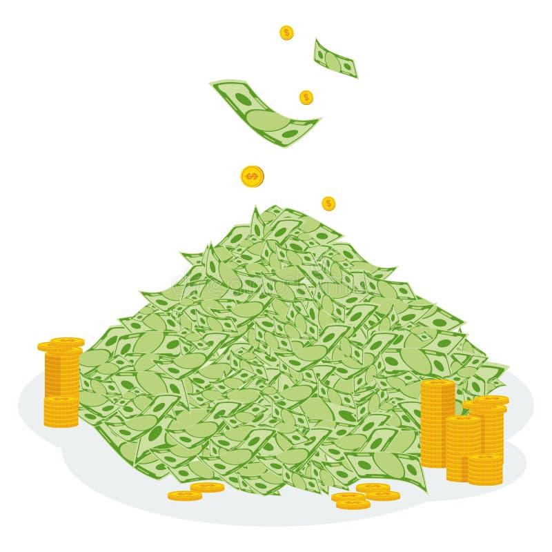 Hög av pengarmyntet royaltyfri illustrationer