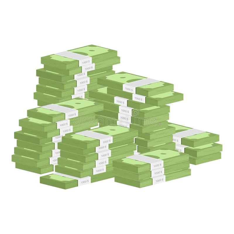 Hög av rullpengar vektor illustrationer