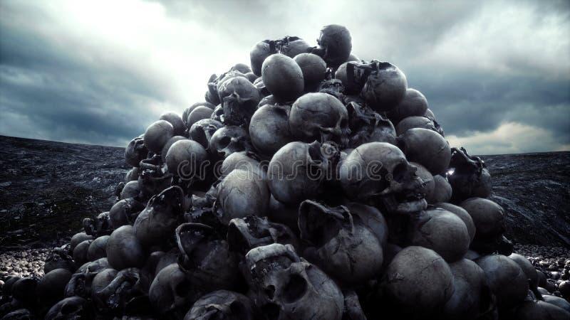 Hög av skallar Apokalyps- och helvetebegrepp framförande 3d royaltyfri illustrationer