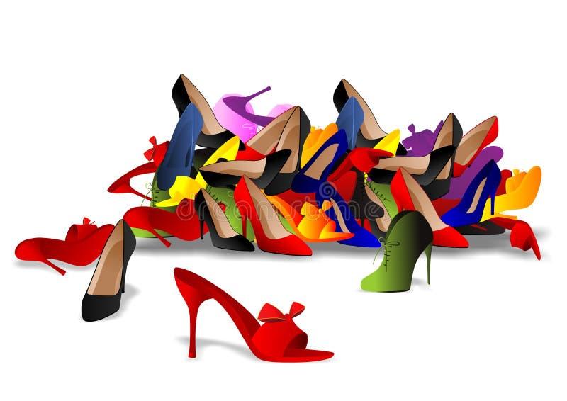 Hög av skor stock illustrationer