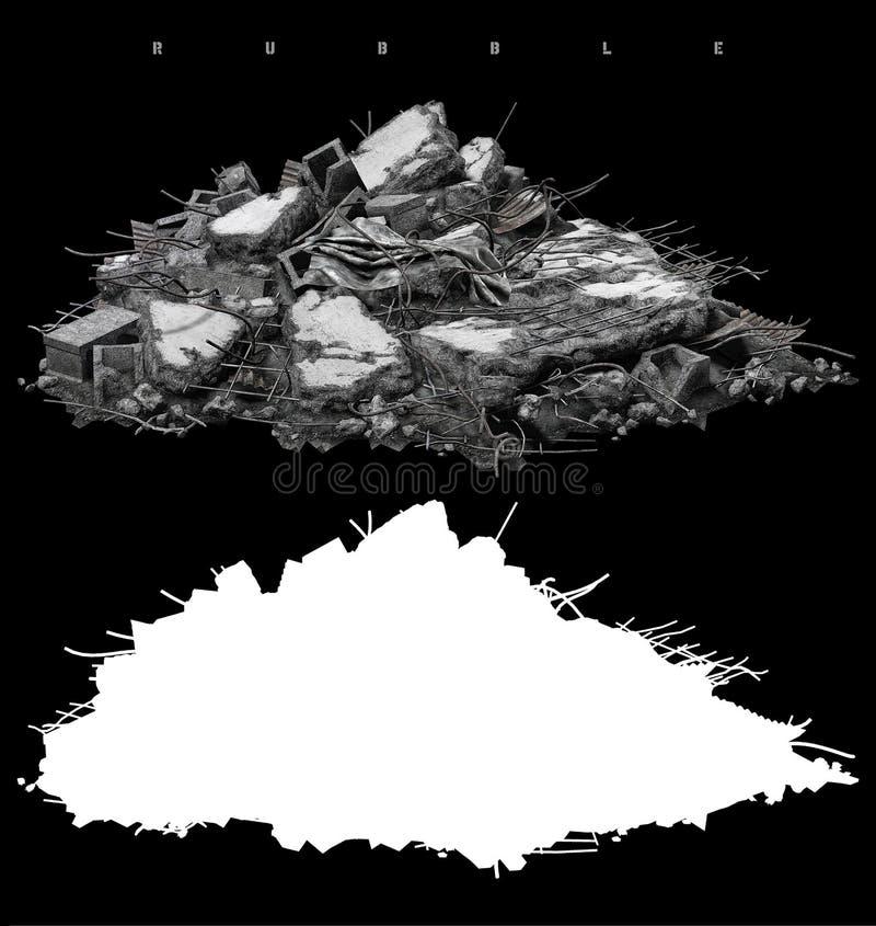 Hög av spillror royaltyfri illustrationer