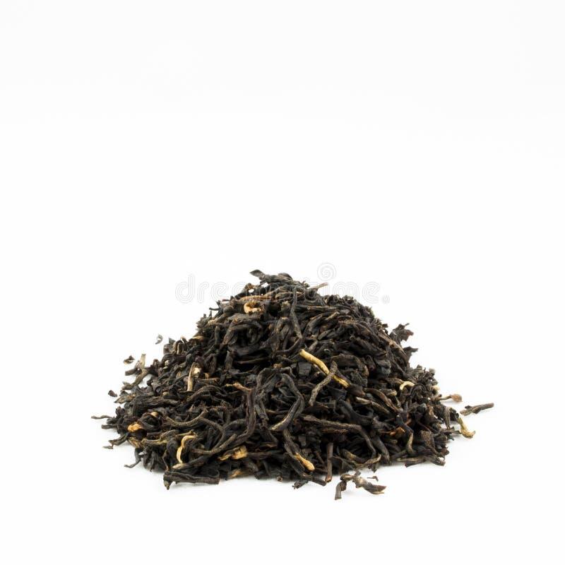 Hög av svarta teblad med kopieringsutrymme royaltyfria foton