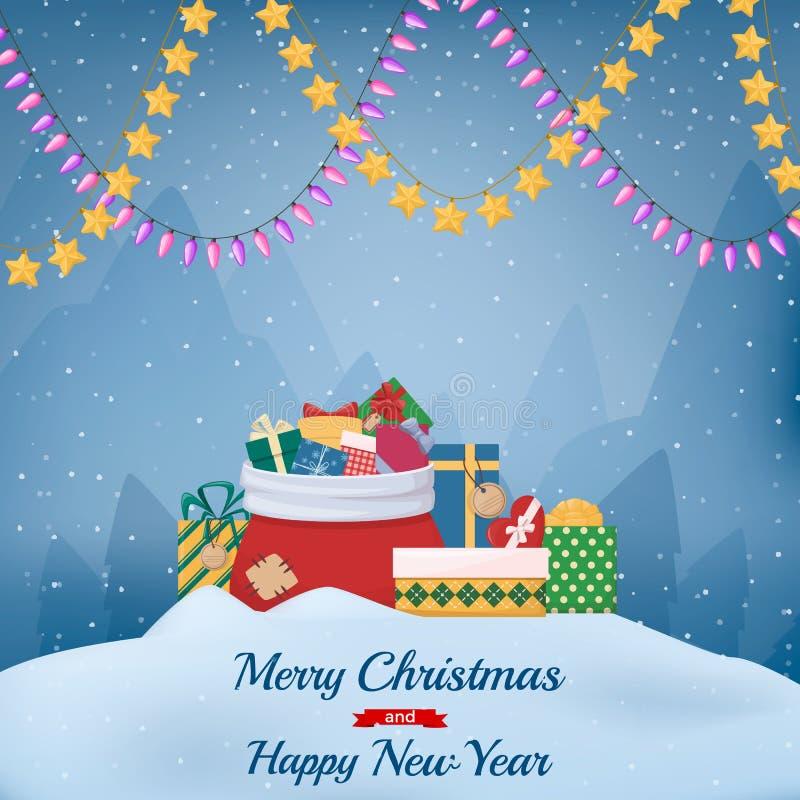 Hög av tecknad filmgåvaaskar med pilbågar och band, full Santas påse, leksak, girland Colourfull gåva vektor illustrationer