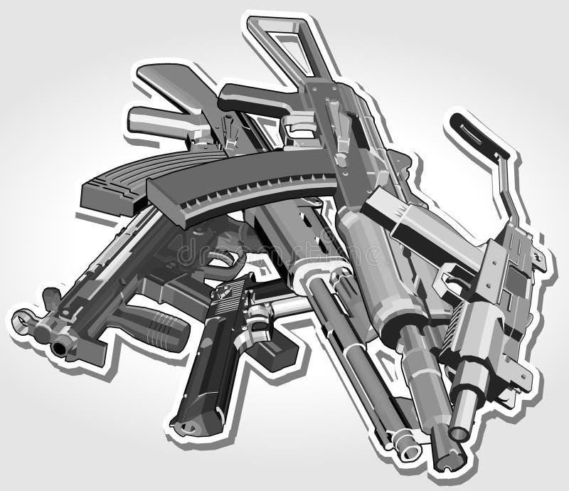 Hög av vapen stock illustrationer