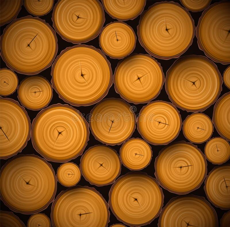 Hög av wood journaler stock illustrationer