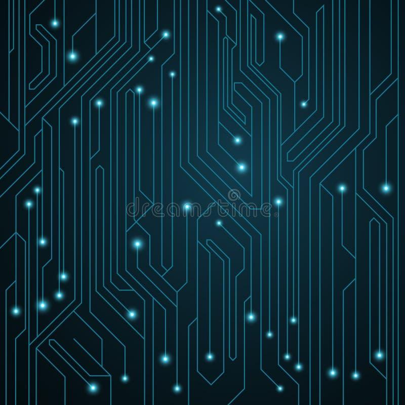 hög bakgrund - tech Moderkort med lysande neonkontaktdon Datorströmkrets också vektor för coreldrawillustration vektor illustrationer