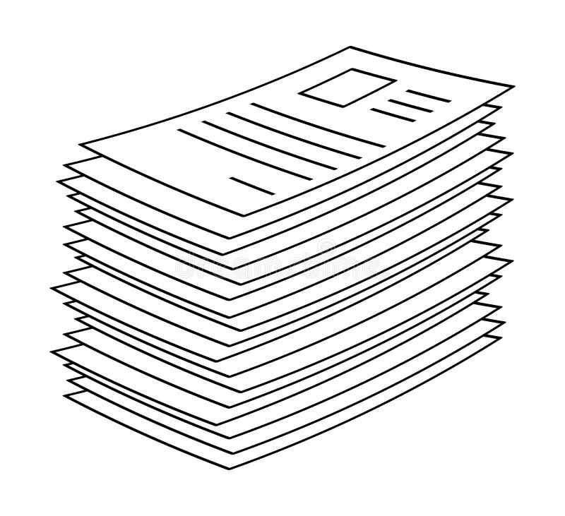 Hög bunt av symbol D för symbol för vektor för symbol för rengöringsduk för mapp för pappers- dokument royaltyfri illustrationer