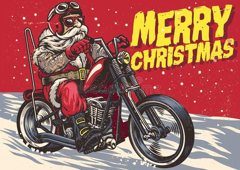 Hög cyklistkläderSanta Claus dräkt och rida en avbrytarmotor royaltyfri illustrationer