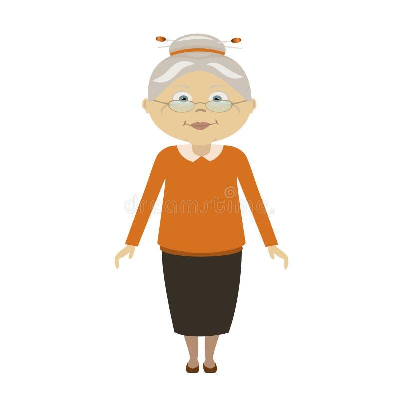 Hög dam med att gå för exponeringsglas Plan stil Den äldre kvinnan, den gamla damen, farmodern, pensionär, avgick, ståenden för d royaltyfri illustrationer