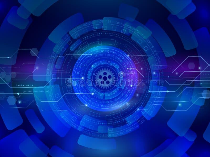 Hög datorkommunikationsteknologi på den blåa bakgrunden D vektor illustrationer