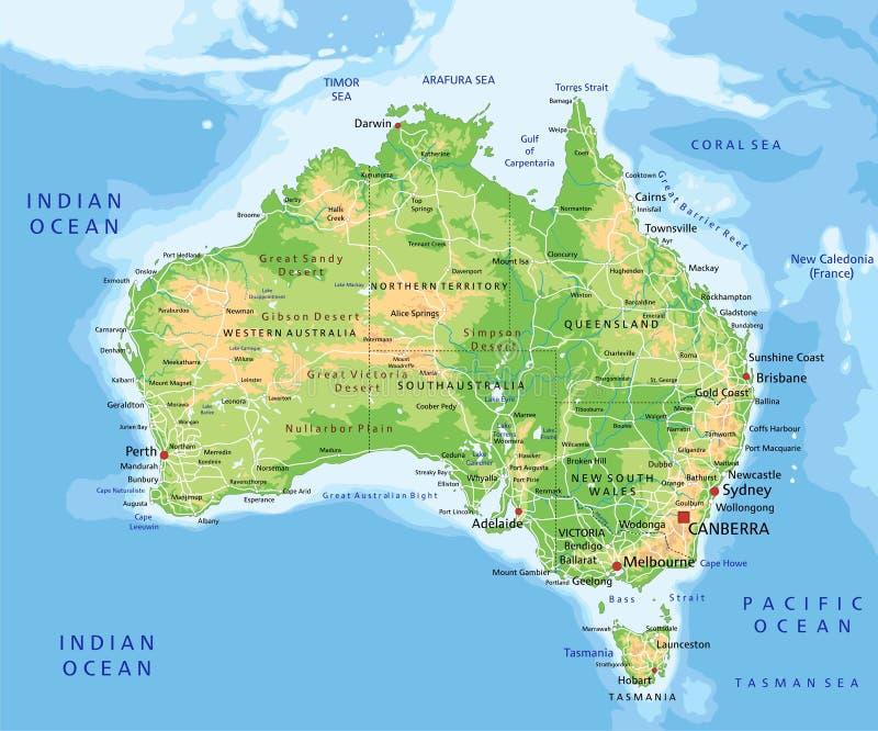 Hög detaljerad Australien fysisk översikt med att märka stock illustrationer