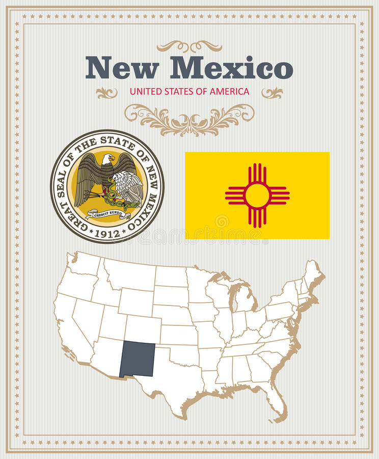 Hög detaljerad vektoruppsättning med flaggan, ny vapensköld - Mexiko Amerikansk affisch greeting lyckligt nytt år för 2007 kort royaltyfri illustrationer