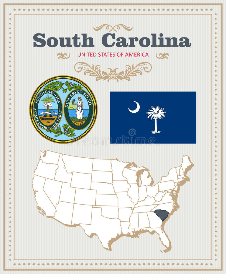 Hög detaljerad vektoruppsättning med flaggan, vapensköld South Carolina Amerikansk affisch greeting lyckligt nytt år för 2007 kor stock illustrationer