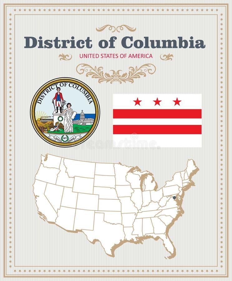 Hög detaljerad vektoruppsättning med flaggan, vapensköldDistrict of Columbia Amerikansk affisch greeting lyckligt nytt år för 200 stock illustrationer