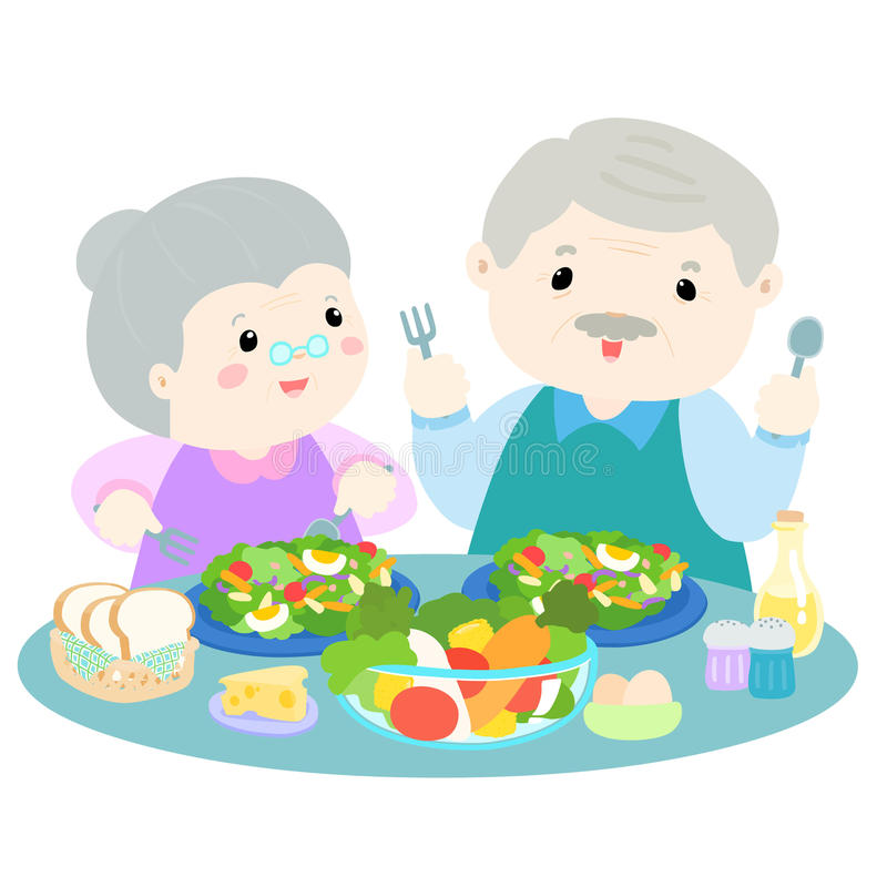 Hög förälskelse som äter illustrationen för ny grönsak royaltyfri illustrationer