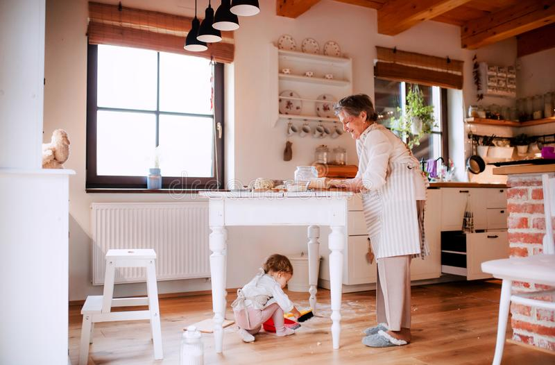 Hög farmor med det lilla litet barnbarnbarnet som hemma gör kakor royaltyfri foto