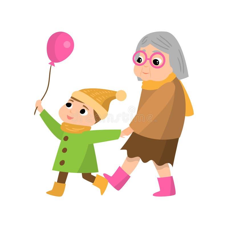 Hög farmor som går med brorsonen vad tar den rosa ballongen vektor illustrationer