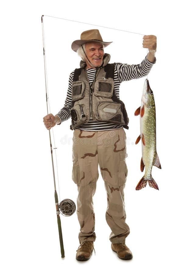 Hög fiskare med den stora fisken - pik & x28; Esox Lucius& x29; isolerat royaltyfria bilder