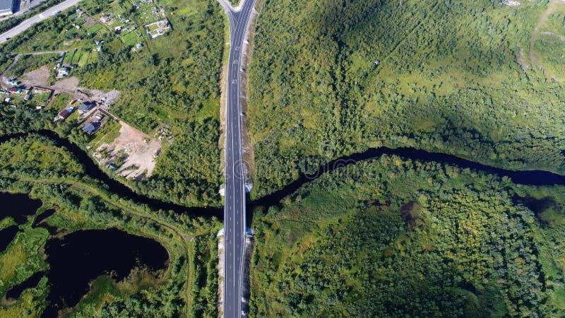 H?g flyg- surrsikt av en bro som k?r till och med den t?ta skogen royaltyfria foton