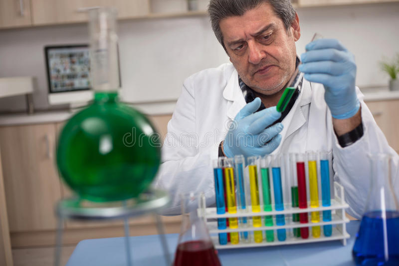 Hög forskare som forskar i laboratorium royaltyfri foto