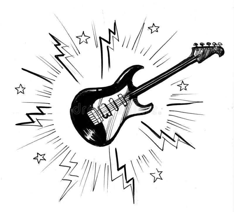 Hög gitarr royaltyfri illustrationer