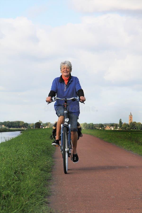 Hög holländsk lady på cykeln. fotografering för bildbyråer