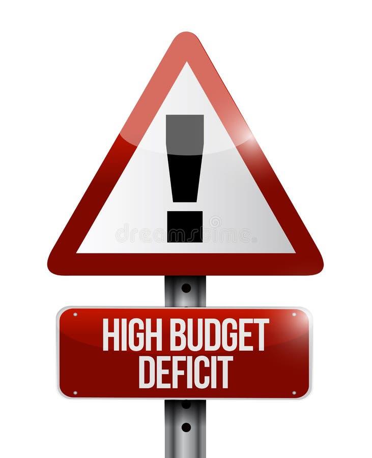 Hög illustration för budgetunderskottvarningstecken royaltyfri illustrationer