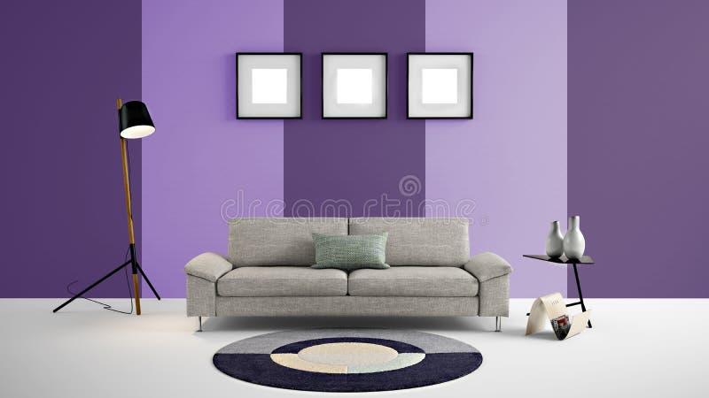Hög illustration för upplösning 3d med purpurfärgade och mörka lilor för ljus - färga väggbakgrund och möblemang stock illustrationer