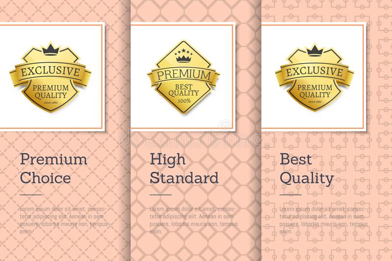 Hög klass - kvalitets- högvärdiga primaa guld- etiketter royaltyfri illustrationer