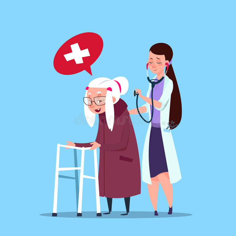 Hög kvinna för doktor Taking Care Of, farmor med sjuksköterskan royaltyfri illustrationer