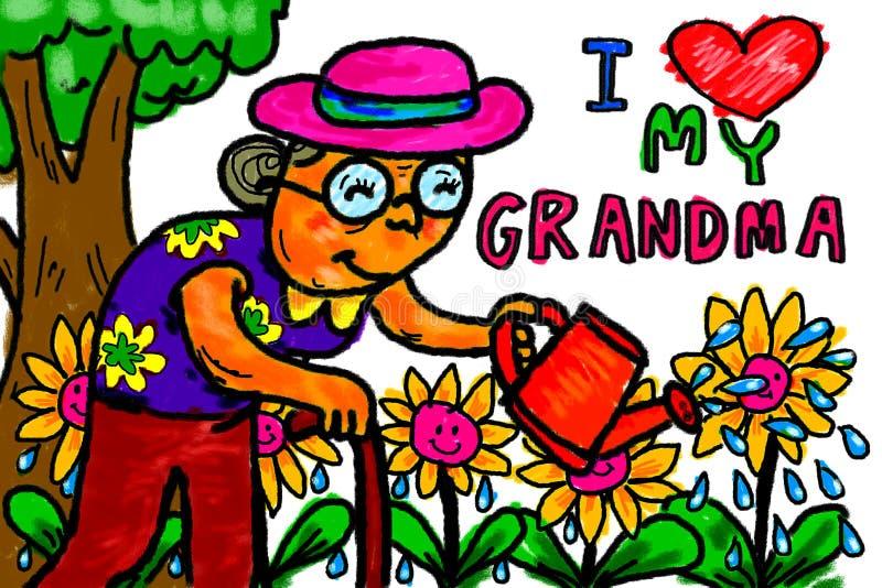 Hög kvinna för farmor som bevattnar blommor royaltyfri illustrationer