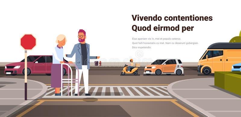 Hög kvinna för manhjälp med att gå bilar för trafik för stad för ramkorsningen gata stads- på isolerat kopieringsutrymme för väg  stock illustrationer