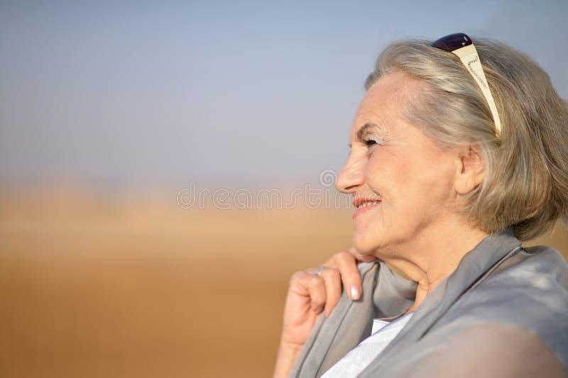 Hög kvinna i öken royaltyfri bild