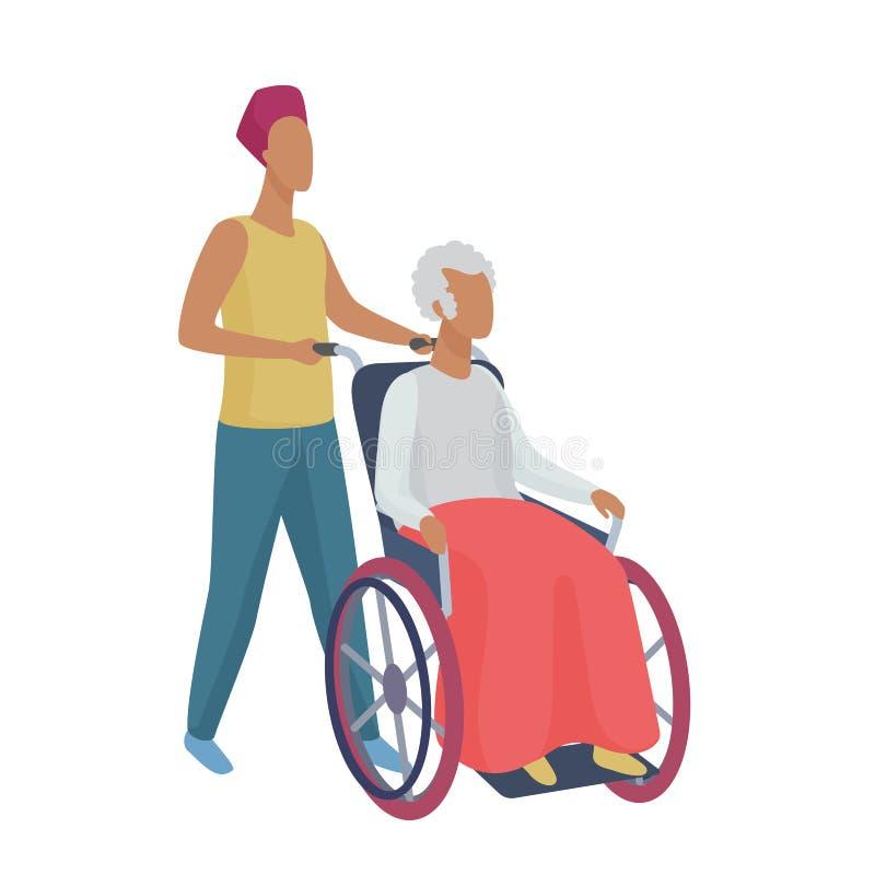 Hög kvinna i rullstol med illustrationen för vektor för stil för försiktig volontär för ung man den abstrakta royaltyfri illustrationer