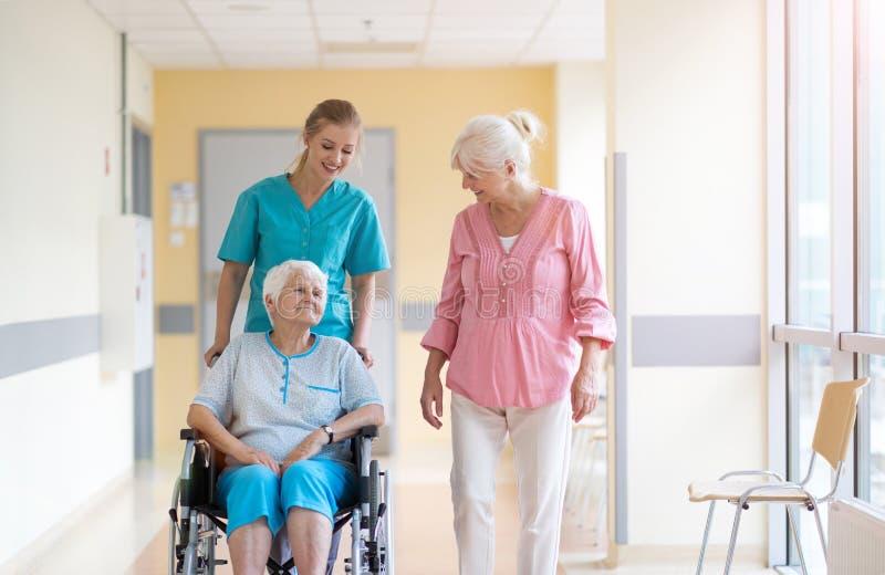 Hög kvinna i rullstol med sjuksköterskan i sjukhus fotografering för bildbyråer