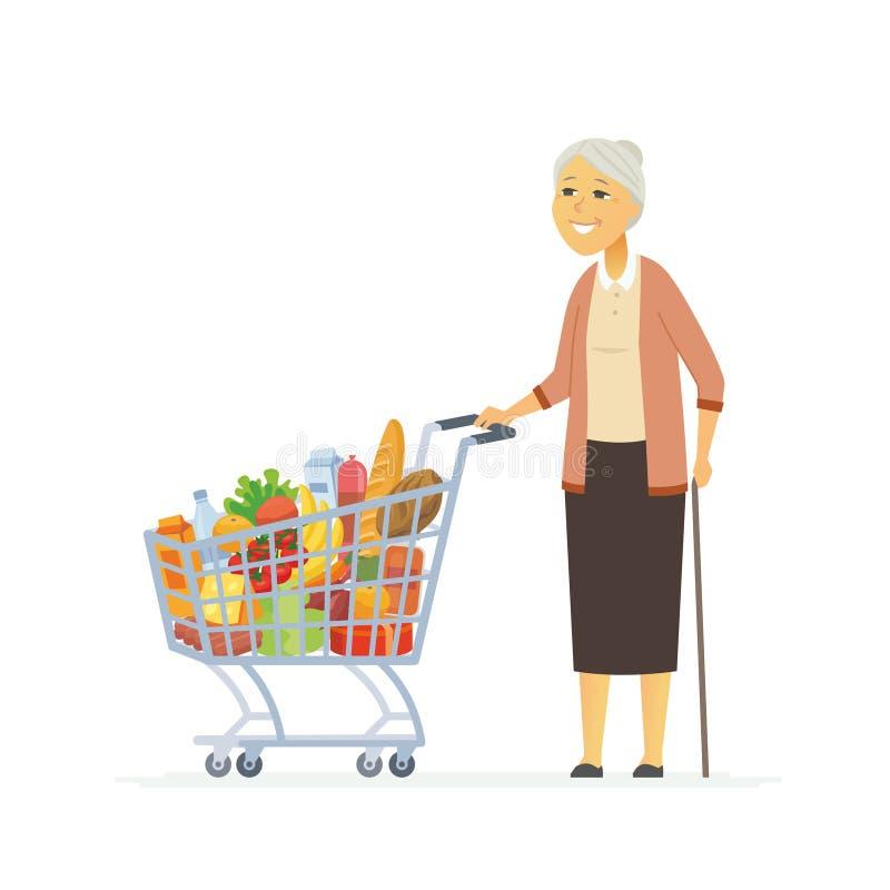Hög kvinna med en shoppingvagn - tecknad filmfolktecken isolerade illustrationen royaltyfri illustrationer