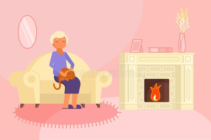 Hög kvinna med illustrationen för kattvektorlägenhet royaltyfri illustrationer
