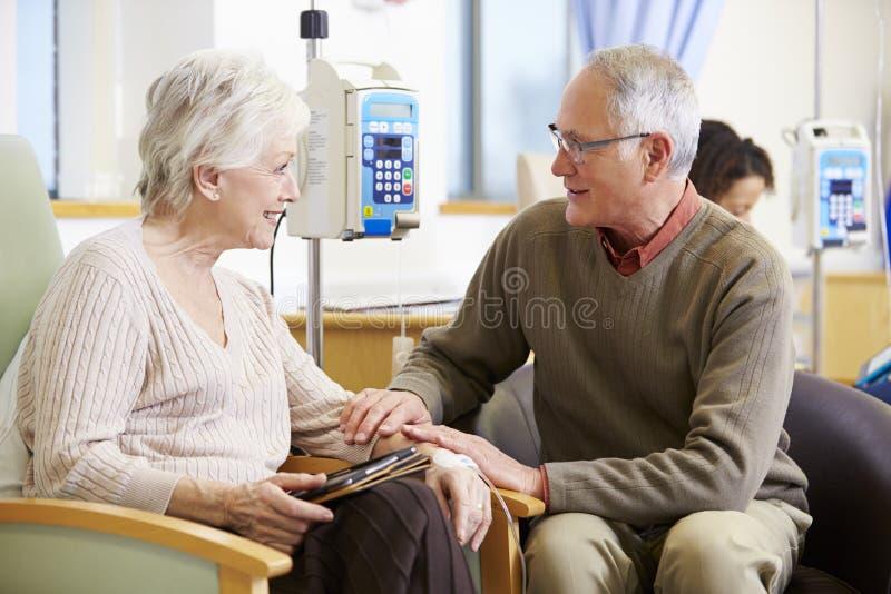 Hög kvinna med maken under kemoterapibehandling arkivbild