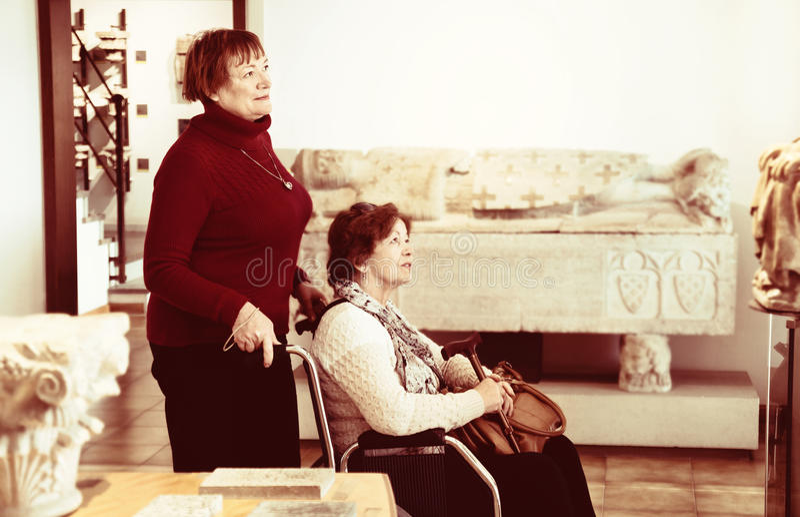 Hög kvinna och hennes kvinnliga vän på gallerit royaltyfria bilder
