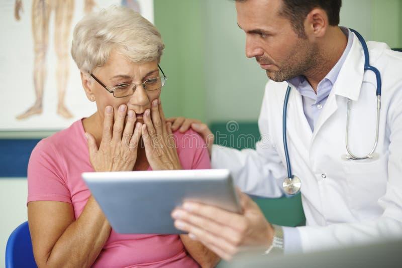 Hög kvinna på doktors kontor arkivfoto