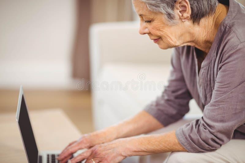 Hög kvinna som använder bärbara datorn i vardagsrum royaltyfri foto